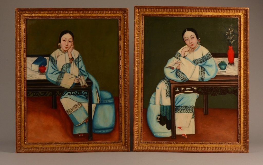 Chinese Export Oil Paintings Twin Girls c. 1800-20