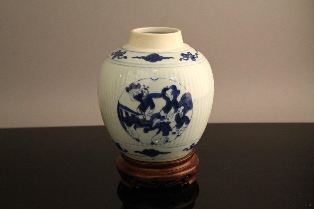 Chinese Kangxi (1662-1722) Blue and White Jar Chinese