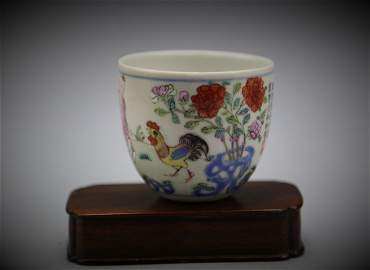 Chinese 19th c. Ducai Cockerel Cup w Daoguang Mark
