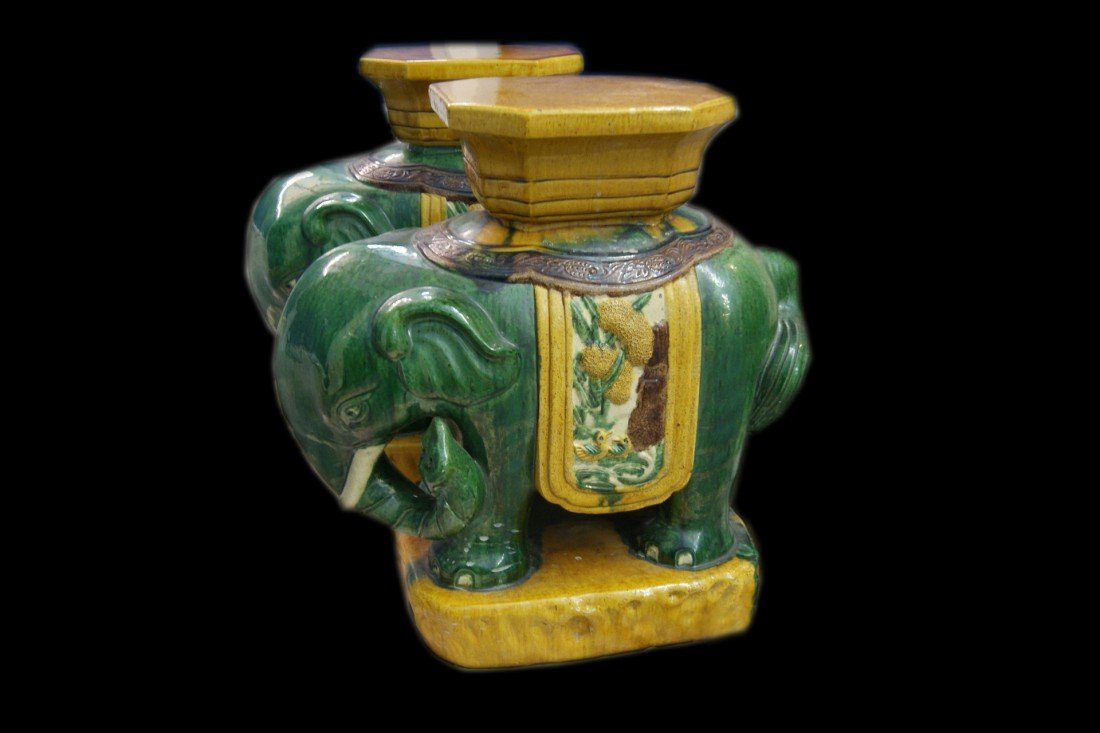 13: Pair of Handpainted Elephant Stands