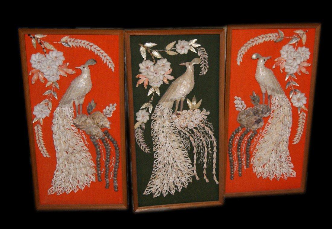 15: Set of 3 Shell Art Panels
