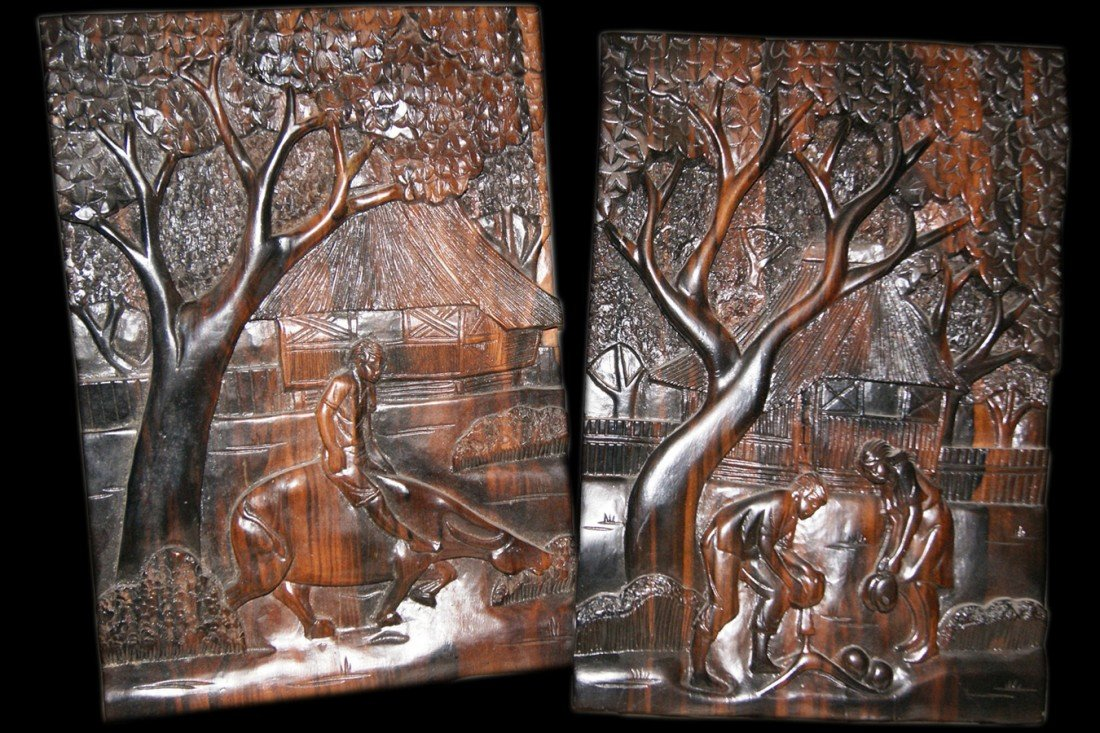 16: Pair of Carved Ebony panels
