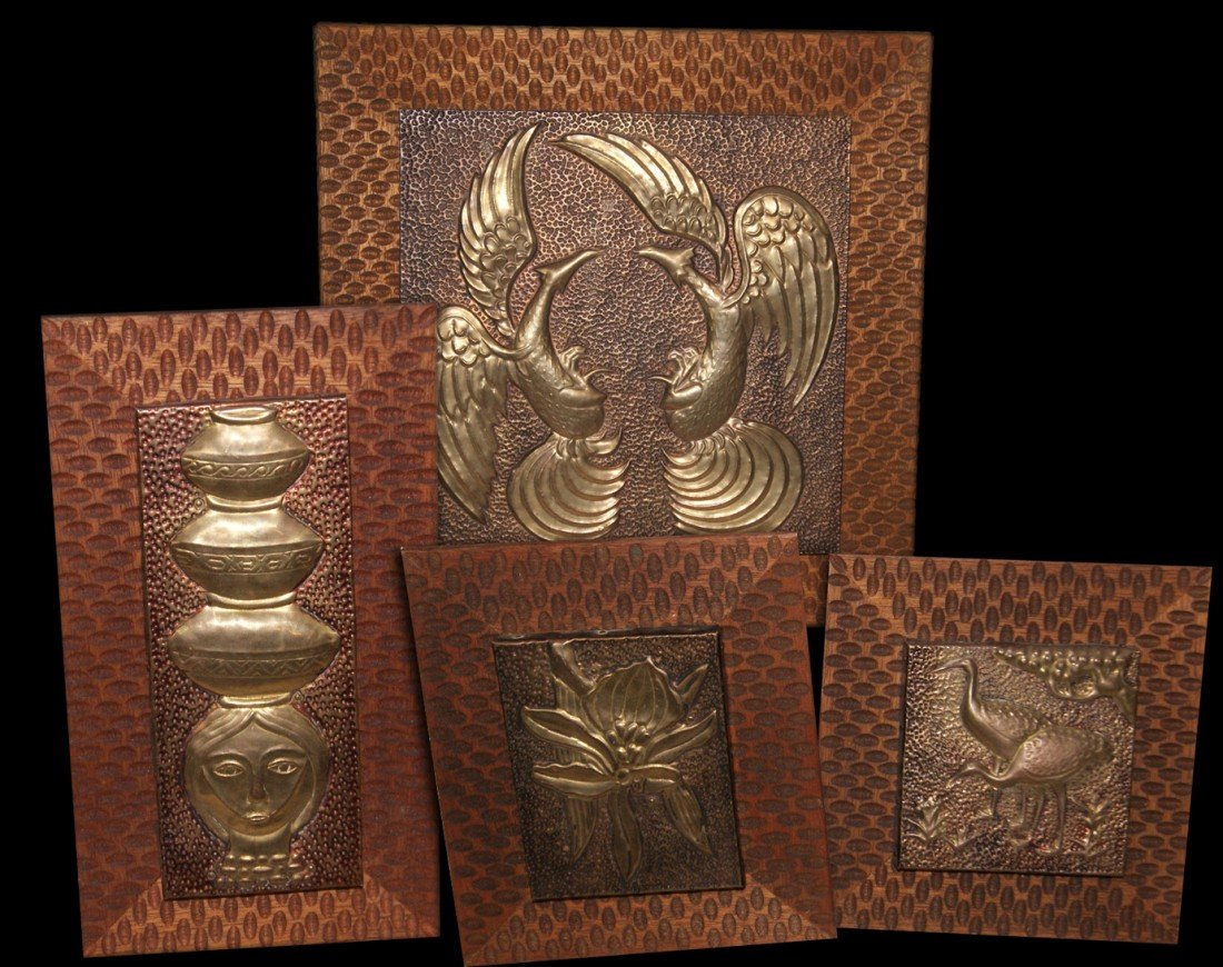 17: Set of 4 Brass and Copper art panels