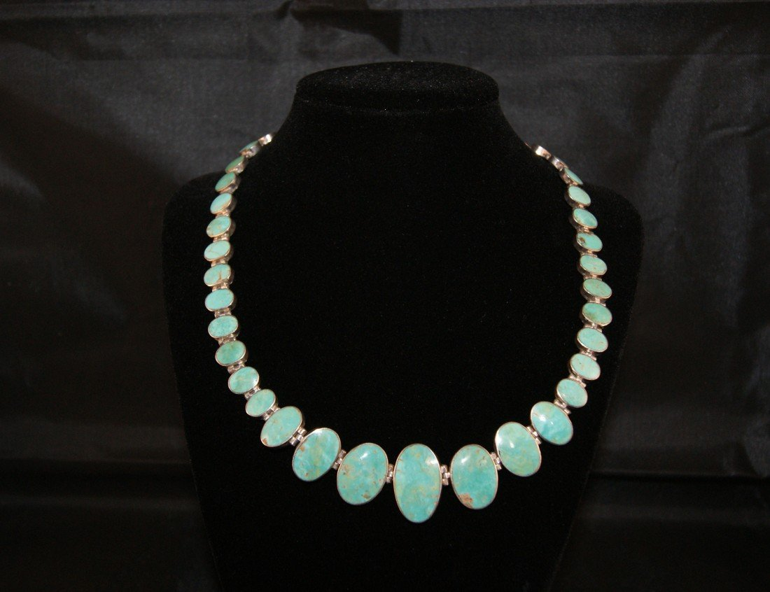 22: Turquoise and 950 silver necklace