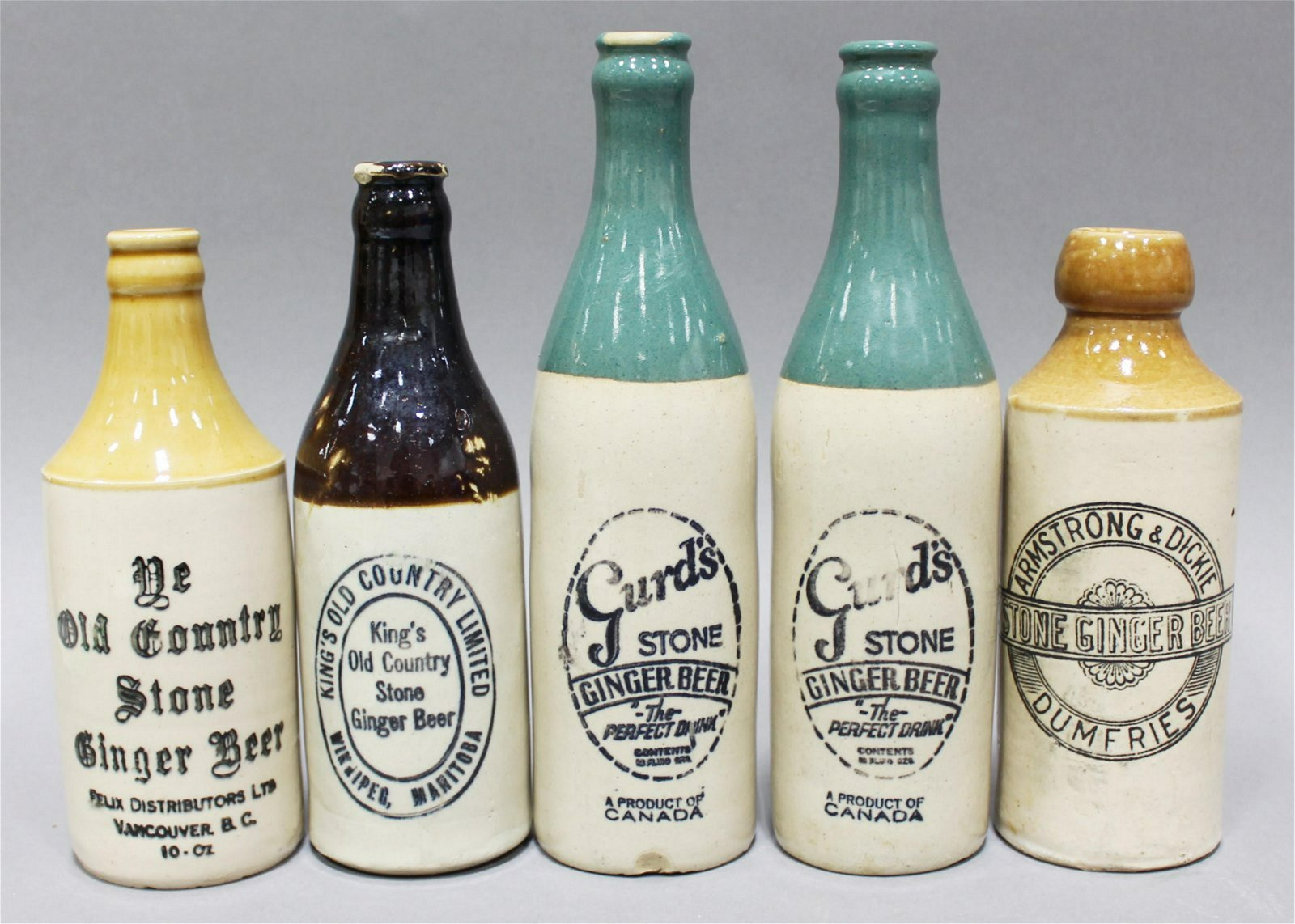 GINGER BEER BOTTLE COLLECTION (5) - Aug 27, 2019 | Hall's