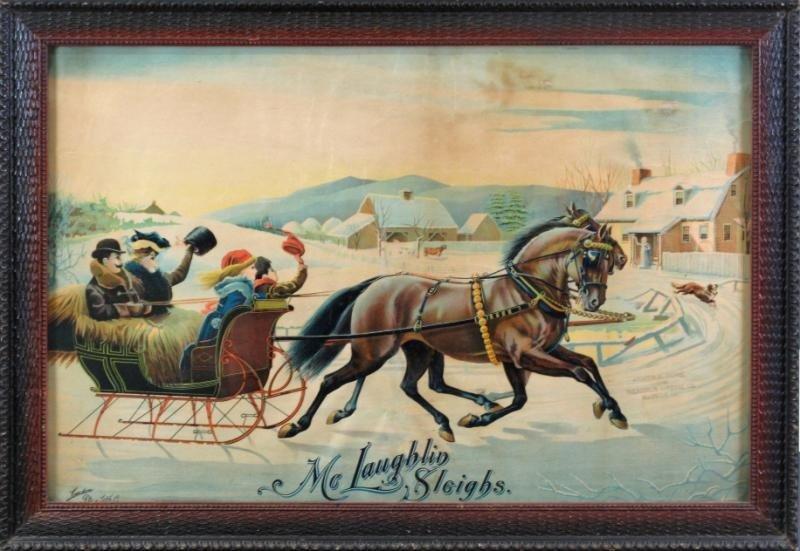 24: FRAMED McLAUGHLIN SLEIGHS ADVERTISING POSTER