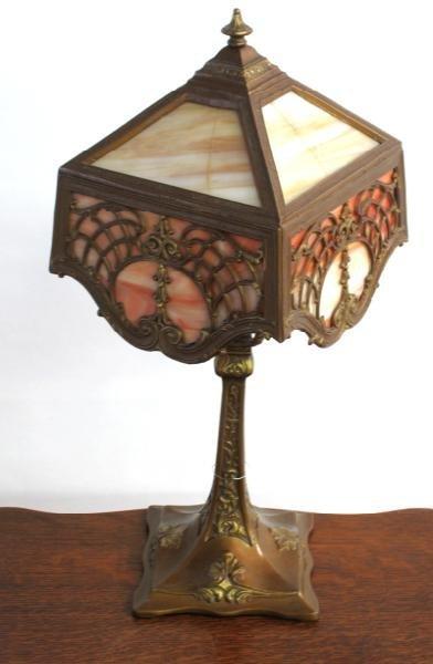 7: SLAG GLASS BOUDIOR LAMP