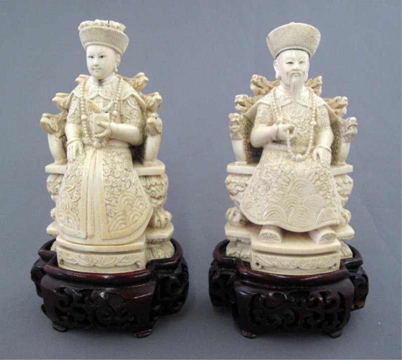 117: CHINESE CARVED IVORY EMPEROR AND EMPRESS