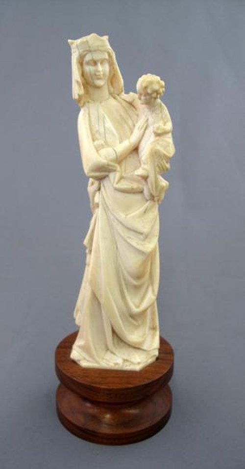 315: CARVED IVORY MADONNA WITH CHILD