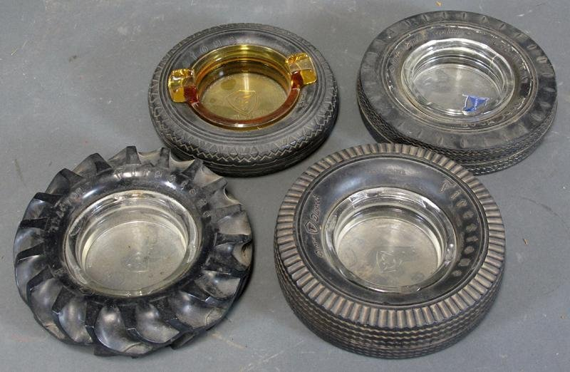 2: GROUP LOT - TIRE ASHTRAYS -including Firestone (x2),