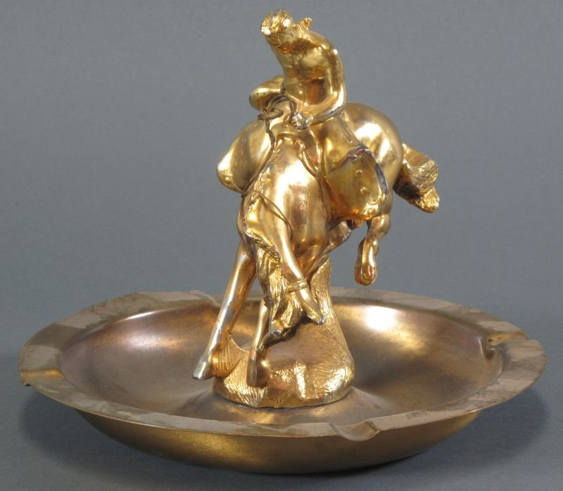 3: DODGE INC. BRASS BUCKING BRONCO ASHTRAY