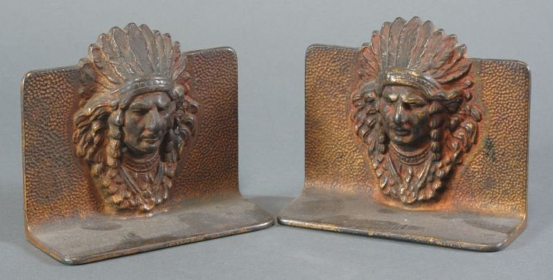 8: CAST METAL NATIVE INDIAN BOOKENDS