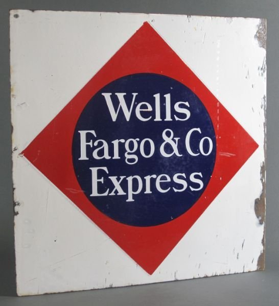 19: WELLS FARGO PORCELAIN FLANGE SIGN -double sided por