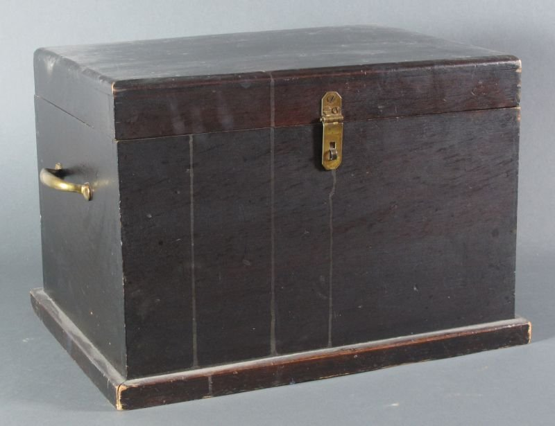 24: DARK STAIN LIDDED BOX -with brass hardware