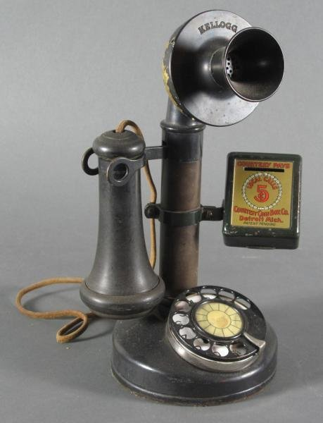 67: RARE KELLOGG CANDLESTICK TELEPHONE -with courtesy p