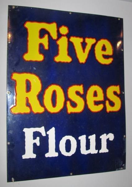 114: PORCELAIN ENAMEL FIVE ROSES FLOUR STORE SIGN -32 x - 2