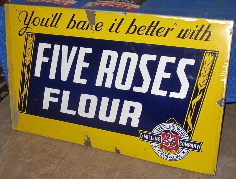 117: LARGE FIVE ROSES FLOUR PORCELAIN STORE SIGN -4' x