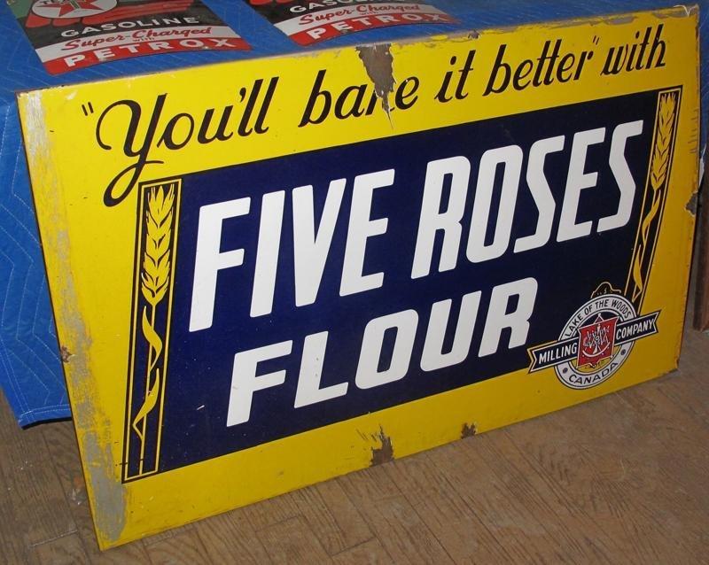 117: LARGE FIVE ROSES FLOUR PORCELAIN STORE SIGN -4' x  - 2