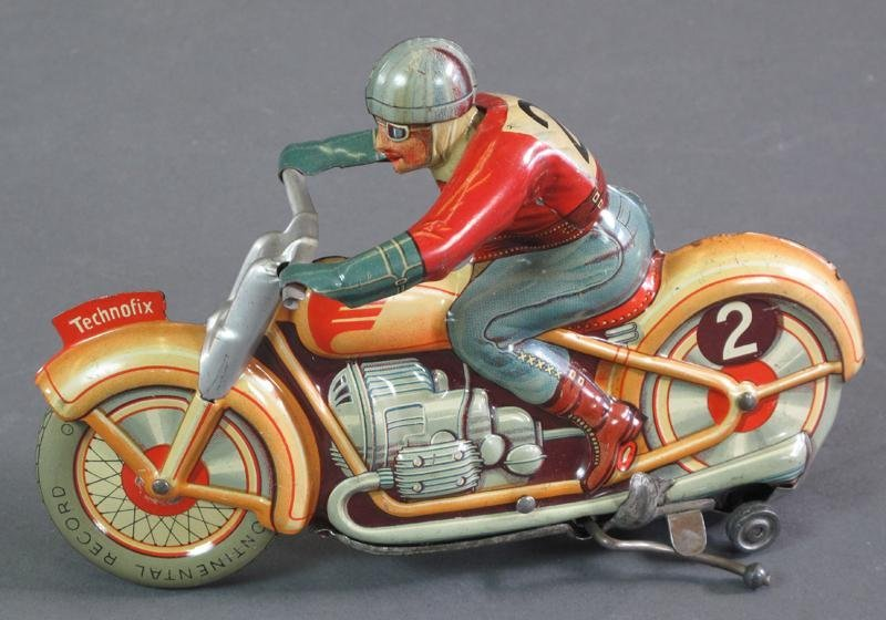 TECHNOFIX TIN WIND UP MOTORCYCLE TOY