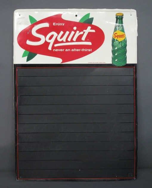 SQUIRT TIN LITHO CHALKBOARD ADVERTISING DISPLAY
