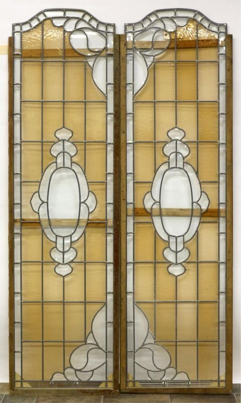 LEADED GLASS PANELS, THREE PAIR