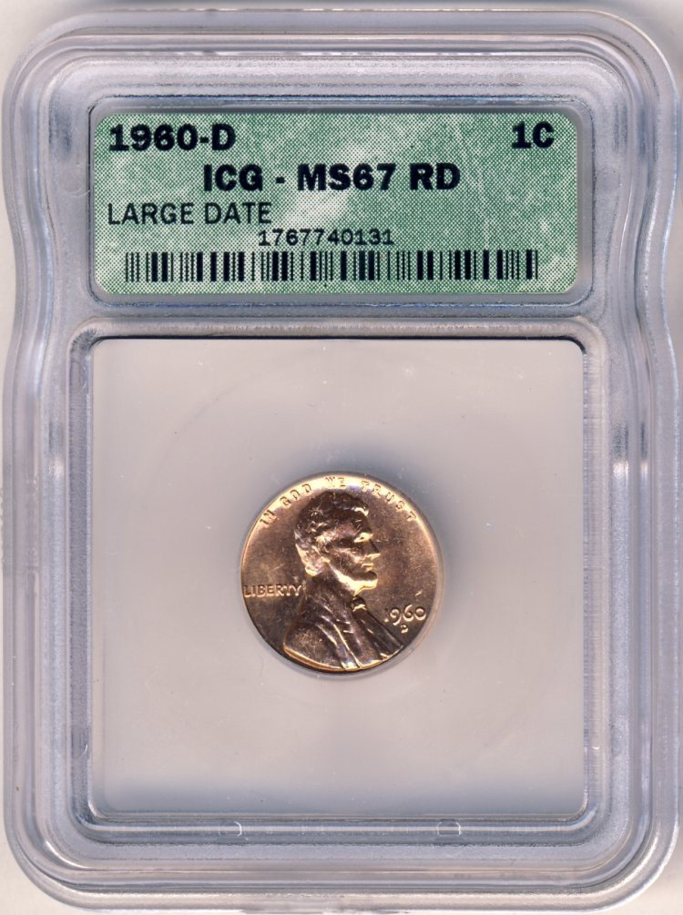 1960D LARGE DATE LINCOLN 1c ICG MS67 RED