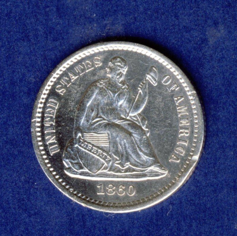1860 SEATED LIBERTY HALF DIME GEM BU