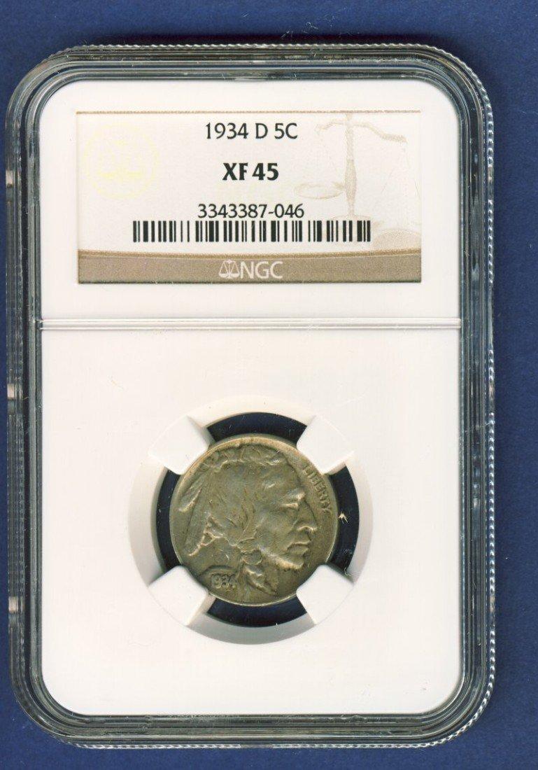 1934-D BUFFALO 5C NICKEL NGC XF45