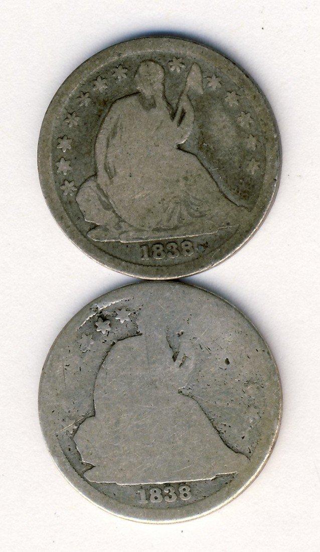 PAIR 1838 SEATED 10c DIMES