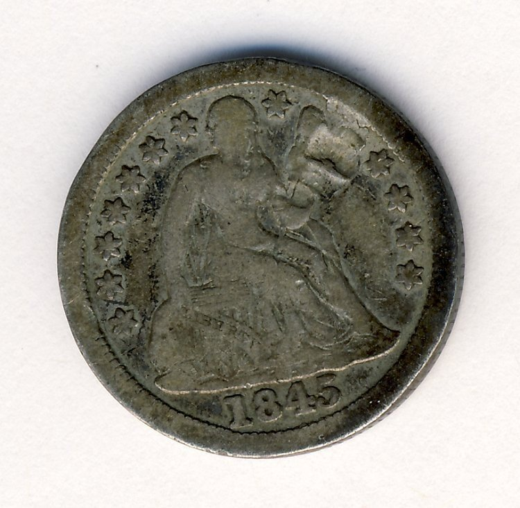 1845 US SEATED 10c Dime VF