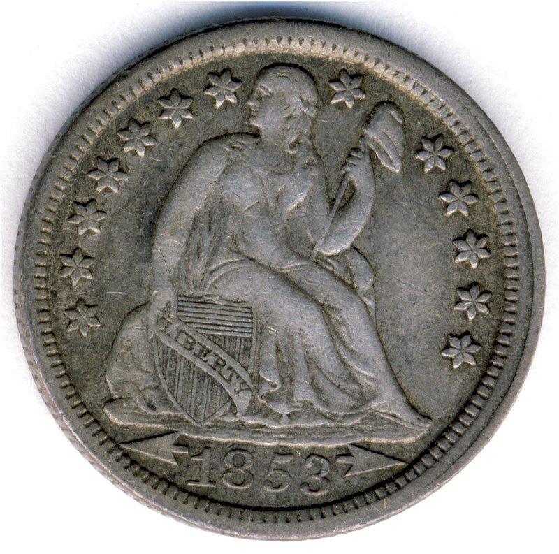 1853 SEATED LIBERTY ARROWS DIME 10c AU