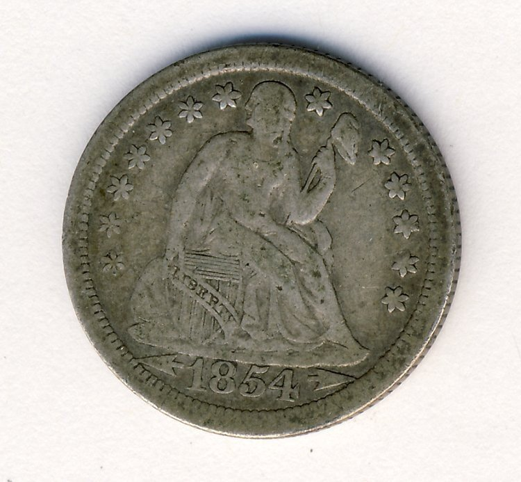 1854-O SEATED LIBERTY DIME WITH ARROWS SEATED 10c
