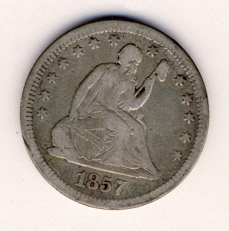1857 US SEATED LIBERTY 25c XF