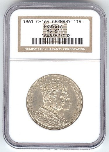 1861 GERMANY/PRUSSIA 1 TALER NGC MS61