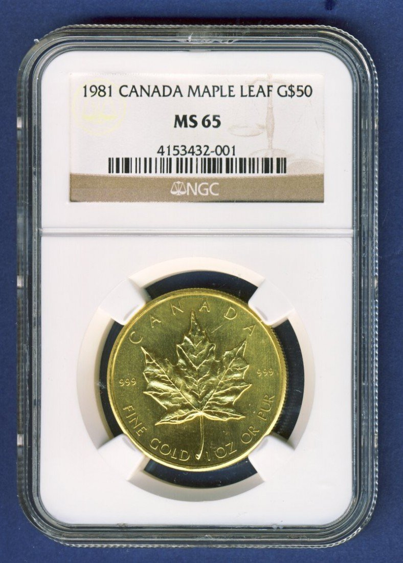 1981 $50 CANADA GOLD MAPLE LEAF NGC MS65