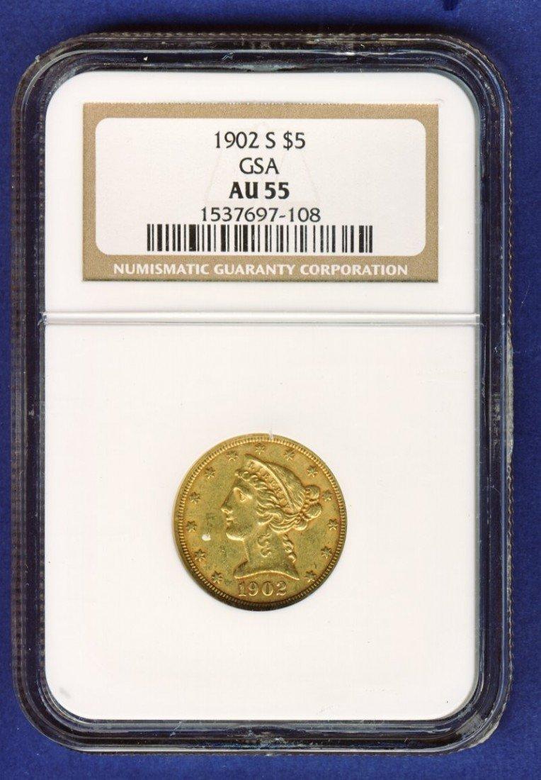 1902-S $5 LIBERTY GOLD COIN NGC AU55