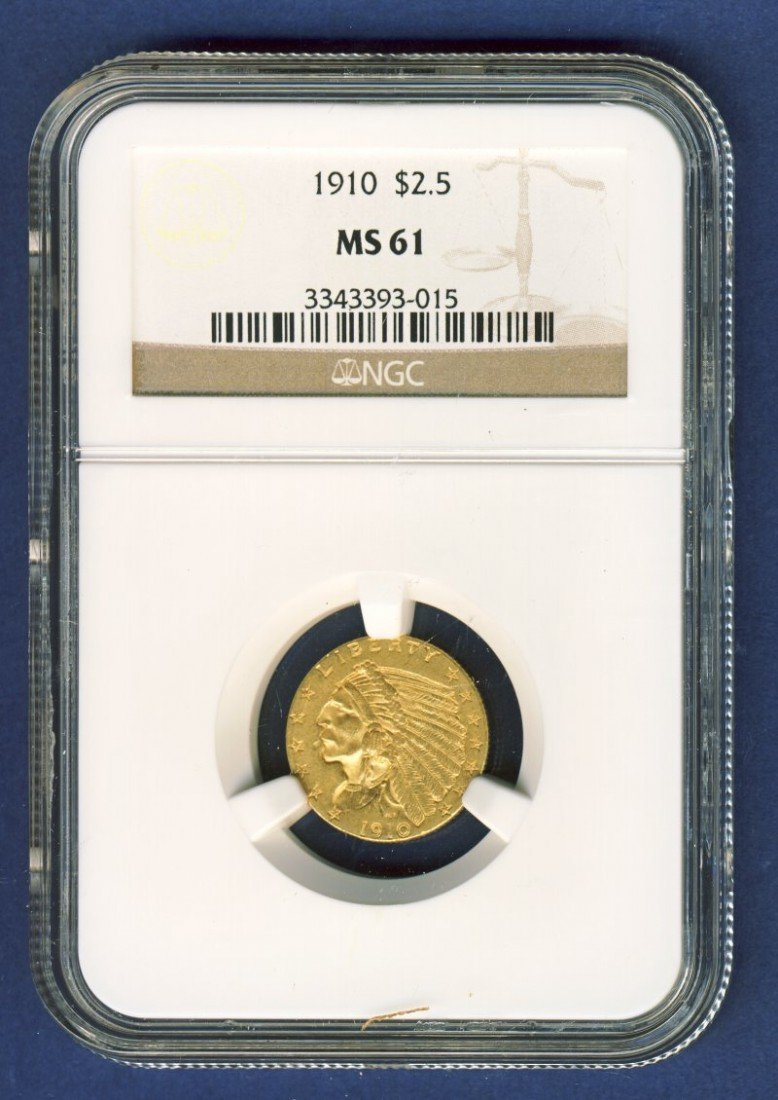 1910 $2 1/2 INDIAN GOLD COIN NGC MS61