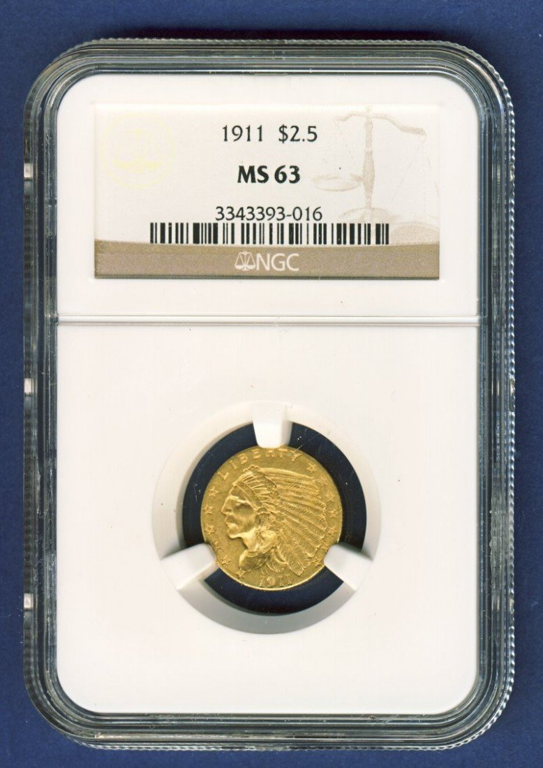 1911 $2 1/2 INDIAN GOLD COIN NGC MS63