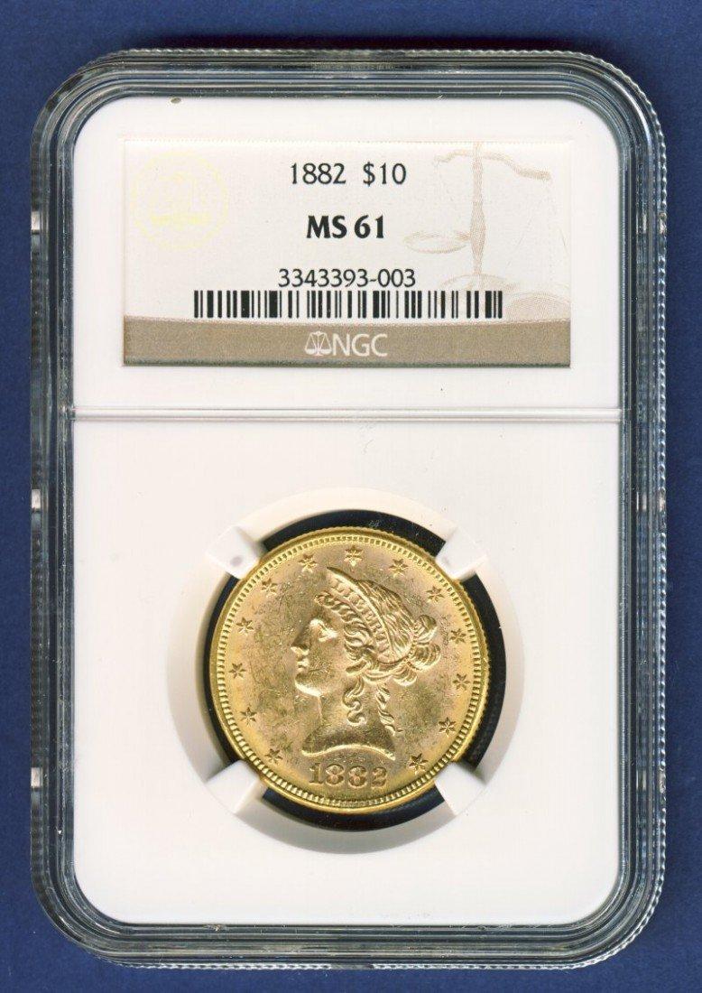 1882 $10 LIBERTY GOLD COIN NGC MS61