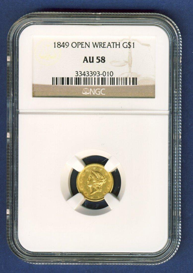 1849 $1 LIBERTY GOLD COIN NGC AU58