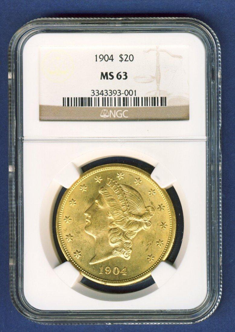 1904 $20 LIBERTY GOLD COIN NGC MS63