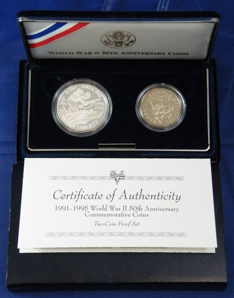 1991-95 WWII 50TH ANNIVERSARY PROOF SILVER COINS