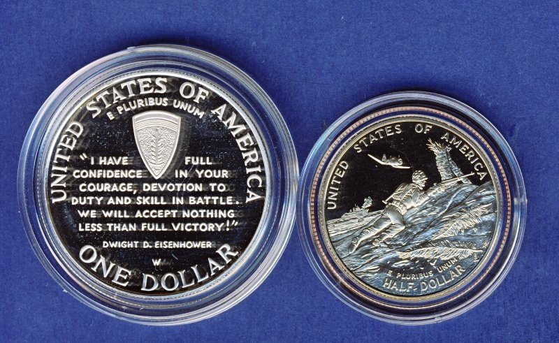 1991-95 WWII 50TH ANNIVERSARY PROOF SILVER COINS  - 3