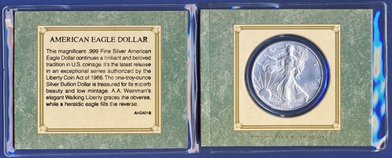 2001 AMERICAN SILVER EAGLE W/NICE PACKAGING