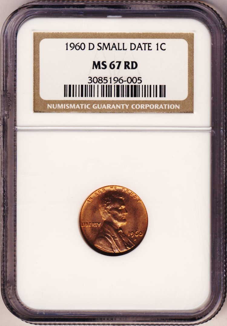 1960D SMALL DATE LINCOLN 1c NGC MS67 RED