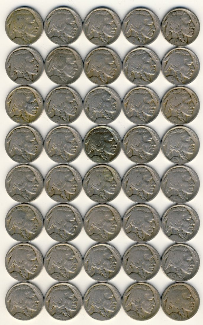 ROLL 40 COINS 1923 BUFFALO 5c
