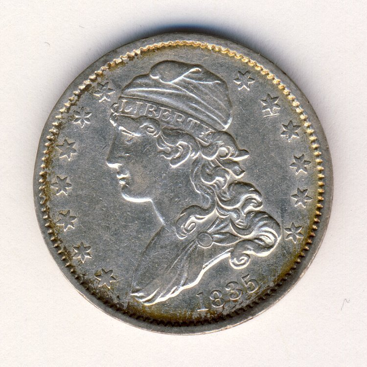 1835 US LIBERTY HEAD NO MOTTO 25c UNCIRCULATED DE