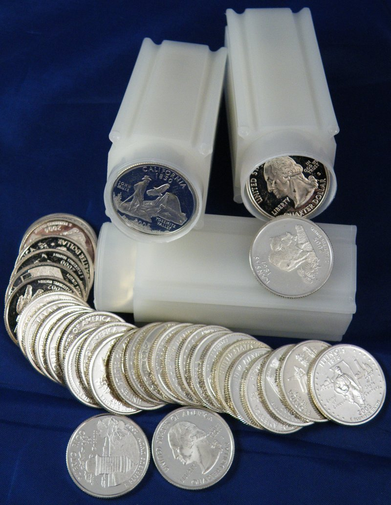 100 PROOF 90% SILVER US WASHINGTON QUARTERS