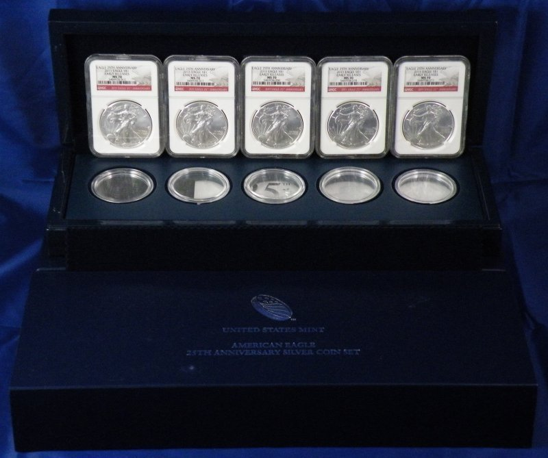 2011 ANNIVERSARY SET BOX W/NGC MS70 (5) 1 OZ SILV