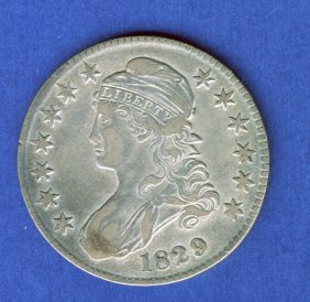 1829 CAPPED BUST HALF DOLLAR .50 CENT VF+ VERY FI